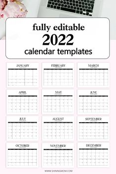 Looking for a fully editable 2022 calendar template? This beautiful, minimalist calendar can be completely customized! #freecalendar #2022calendar Editable Monthly Calendar, Free Calendar, Yearly Calendar, Calender Template, Journal Template, Student Teacher Binder, Planner Pages, Happy Planner, Household Organization