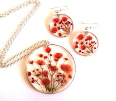 Baby's Breath Pendant Red Floral Jewelry by oceanpetalsartstudio