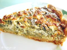 tarta me spanaki k feta. Spinach Feta Quiche, Greek Cooking, Greek Dishes, Savory Tart, Fast Dinners, Appetisers, Greek Recipes, Different Recipes, Food And Drink