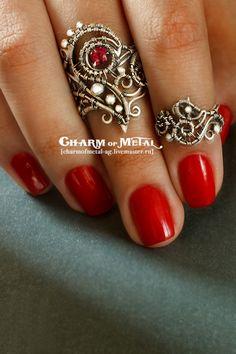 """Silver wire wrapped rings / Купить """"Minnonar"""" Комплект из двух серебряных колец - украшение, подарок девушке, подарок женщине, серебро"""
