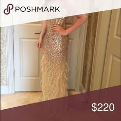 Gold Prom Dress Size 6 Gold prom dress with feather train. Size 6. Worn once to my prom. Excellent condition. Send me an offer 💕 I ship on the day purchased or the next day. Dresses Prom