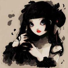 goth tumblr art girl - so cute!