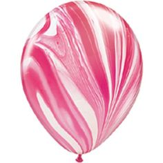 Red Tie Dye Agate Marble Balloons Pk5