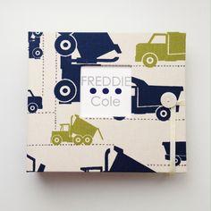 Boyish Dump Trucks baby album personalized with Option 4 in navy + gray!