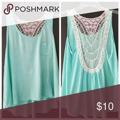 Crochet back tank top Turquoise blue ,  white crochet detail on the back. Size small Tops Tank Tops