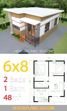 House Design 6x8 with 2 Bedrooms - House Plans 3D