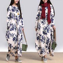 2016 nueva otoño estilo Chino del viento casual imprimir O-cuello recto vestido…