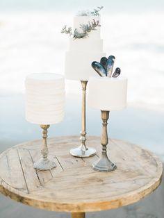 Wedding Cakes : Seaside inspired cakes: www. Wedding Cake Rustic, White Wedding Cakes, Seaside Wedding, California Coast, California Wedding, Brooklyn Wedding Venues, Nautical Wedding Inspiration, Luxury Cake, Classic Cake