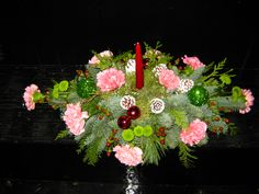 pink and green long and low with a tapered candle Corsages, Boutonnieres, Floral Centerpieces, Pink And Green, Floral Wreath, Candles, Wreaths, Entertaining, Christmas Ornaments