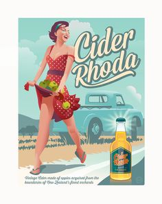Cider Rhoda, is a retro poster based on the traditional New Zealand posters of the past. Cider Making, Creative Communications, Graphic Design Company, Logo Creation, Publication Design, Beverage Packaging, Corporate Identity, Branding, Retro