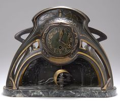 cgmfindings:  LENZKIRCH Art Nouveau Bat Clock,  c. 1905,  with crescent moon and stars pendulum,  cast brass