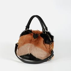 Furtastic statement bag from the cult NZ designers 'Deadly Ponies'. The perfect winter accessory. Red Giant, Black Clay, Winter Accessories, Ponies, Bucket Bag, Lust, Handbags, Wallet, Leather