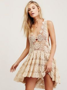 Платье туника Free People. Кружева крючком - Вязание крючком, Модное вязание - Вязание спицами и крючком