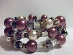 Purple Bead Bracelet Multi Color Bracelet Wrap Bracelet by mscenna, $15.00