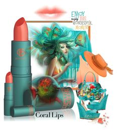 """""""Coral Lip Stick"""" by ragnh-mjos ❤ liked on Polyvore featuring beauty, Staring At Stars, Lipstick Queen and Anuschka"""