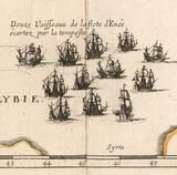 Detailed engraving of sailing ships on Mediterranean Sea, from Renaissance map of the Voyage of Aeneas from Greek myth mythology. 17th century map printed in 1697, cartography by Nicolas Sanson