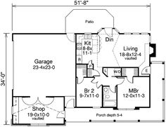 Plan 57105HA: Two Bedroom Cottage With Garage And Shop