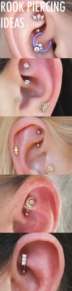 Cute Multiple Ear Piercing Ideas at MyBodiArt.com - Cool Rook Piercing Jewelry 16G Silver Gold