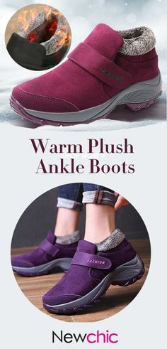b16a1d2af62  59% off Women Casual Sports Warm Plush Hook Loop Non Slip Snow Shoes