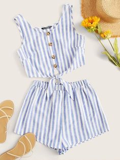 To find out about the Button Detail Tie Hem Striped Top and Shorts Set at SHEIN, part of our latest Two-piece Outfits ready to shop online today! Casual Skirt Outfits, Cute Girl Outfits, Kids Outfits, Baby Dress Design, Ladies Dress Design, Pop Fashion, Girl Fashion, Two Piece Jumpsuit, Two Piece Outfit