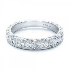 Hand Engraved Diamond Wedding Band - Kirk Kara