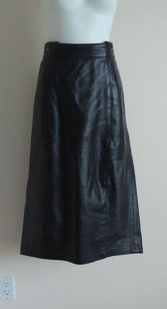 Vintage 1970s Sandy  Black Leather Skirt on Etsy, $75.25 CAD