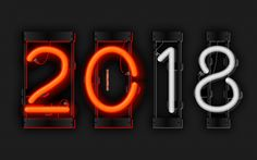Scarica sfondi 2018 anno, neon cifre, 4k, arte, metallo, sfondo, 2018, Nuovo Anno 2018, griglia, creative