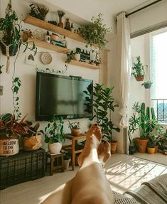 Reposted from ( - Put your feet up enjoy the view and have a fabulous weekend! by Salateando - House Plants Decor, Plant Decor, Decor Around Tv, Tv Wall Decor, Aesthetic Room Decor, Living Room Tv, Living Room Inspiration, Interior Inspiration, Decoration