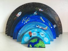Atmosphere theme painted rainbow - layers of the atmosphere from earth to space Science Kid Science, Science Experiments Kids, Science Activities, Science Classroom, Earth Science Projects, Earth And Space Science, Earth's Atmosphere Layers, Earth Layers, Layers Of Earth Project