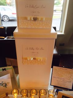 Matching post box and guest book with laser cut hearts, ribbon and diamanté heart embellishment by Made Marvellous