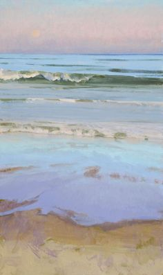 Marcia Burtt    Late Sun, Moonrise    acrylic  30×18 inches