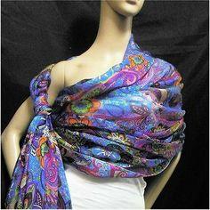 100% Pure Silk Chiffon Fabric Stunning Paisley Blue