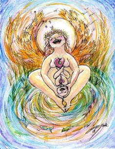 Love this art - so happy and bright. One day, I will have a 100% natural birth!