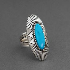 Turquoise Oval Silver Ring by Leo Yazzie