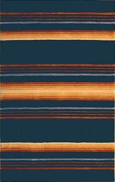 modernrugs.com blue yellow orange striped rug