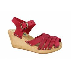 Moheda Lucilla Wedge Clogs Red