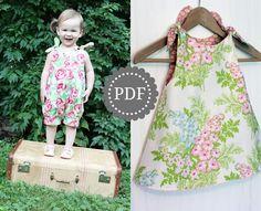 PDF Girls Romper and Dress Pattern: Shortcake Reversible Romper and Dress Pattern