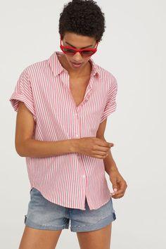 Koszula z krótkim rękawem - Red/White striped - ONA | H&M PL 1
