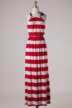 American Lady Red White & Blue Maxi Dress – elle & k boutique