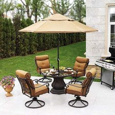 Black wrought iron 7 piece action patio dining set w3929 - Better homes and gardens dining set ...