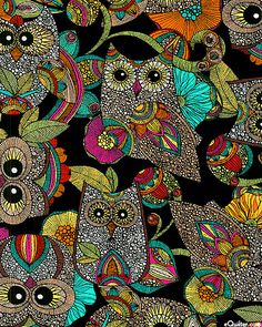 Owl's Nest - Hoots & Flowers - Black US$ 10.50