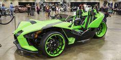 Custom Green Slingshot with custom painted Forgiato Navaja-ECX wheels  http://forgiato.com/car-gallery/polaris/slingshot/navaja-ecx/2282/