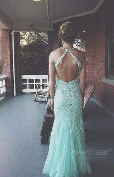 Tulle Sequin Backless Long Prom Dresses, Formal Dresses #prom #dress #promdress
