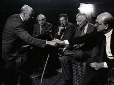 Giorgio Napolitano, Ciriaco De Mita, Luciano Lama, Gianni Agnelli e Bettino Craxi durante un vertice negli anni ottanta