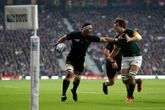 #RWC2015 #AllBlacks Jerome Kaino fends off Lodewyk De Jager of South Africa as he runs in the opening try of the Rugby World Cup 2015 semi-final at Twickenham Stadium on Saturday 24 October