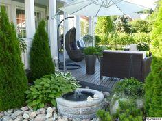 Upea terassi, piha, puutarha, istutukset,