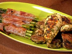 Lemon-Garlic-Herb Chicken with Grilled Prosciutto Wrapped Asparagus and Pesto 3 Bean Salad