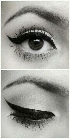 Cat Eye - Upper Lid Only - Creating a beautiful liquid liner curve from the inner-eye corner out to the outer-eye swoop