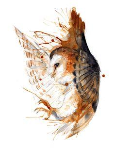 Barn Owl O Ka Fee RubisFirenos Coffee/Pigments/Watercolor 2016 http://ift.tt/2bzlgLM