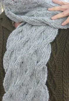 "Onduleux ""Wavy"" Cables Scarf; stevenbe; pattern in files!"